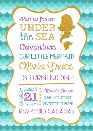 Vertical Text Mermaid Teal
